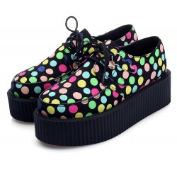 Black Colorful Polkadots Dots Balls Lace Up Platforms Creepers Oxfords Shoes