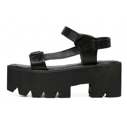 Black Punk Rock Gothic Gladiator Straps Platforms Sandals Shoes