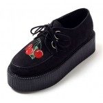 Black Suede Embroidery Cherry Lace Up Platforms Creepers Oxfords Shoes