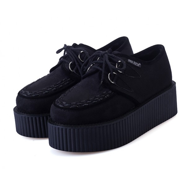 Black Suede Stitches Lace Up Platforms Creepers Oxfords Shoes