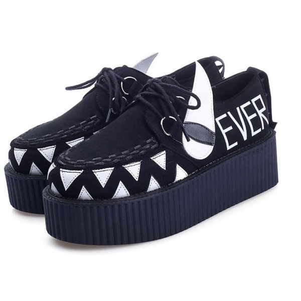 Black WHATEVER Teeth Spikes Punk Rock Lace Up Platforms Creepers Oxfords Shoes