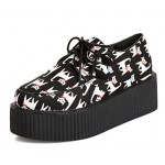 Black White Cats Cartoon Lace Up Platforms Creepers Oxfords Shoes