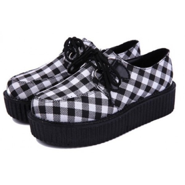 Black White Checkers Chessboard Harajuku Lace Up Platforms Creepers Oxfords Shoes