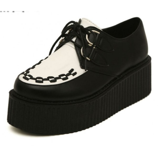 Black White Stitches Lace Up Platforms Creepers Oxfords Shoes