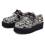 Black White Vintage Retro Pattern Harajuku Lace Up Platforms Creepers Oxfords Shoes