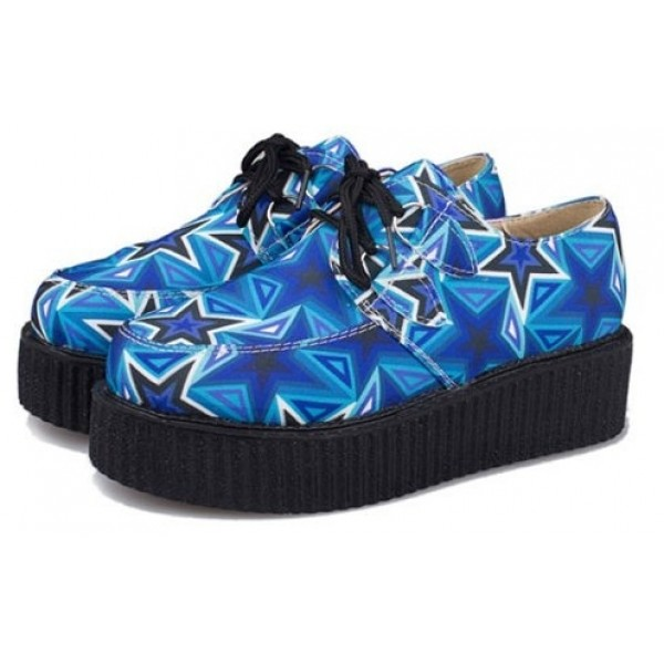 Blue Stars Harajuku Lace Up Platforms Creepers Oxfords Shoes