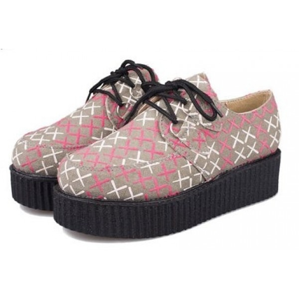 Grey Pink Crosses Harajuku Lace Up Platforms Creepers Oxfords Shoes