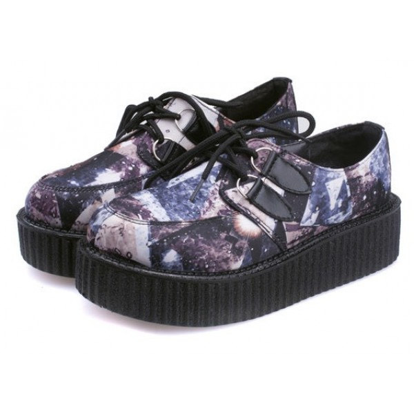 Purple Galaxy Stars Universe Lace Up Platforms Creepers Oxfords Shoes