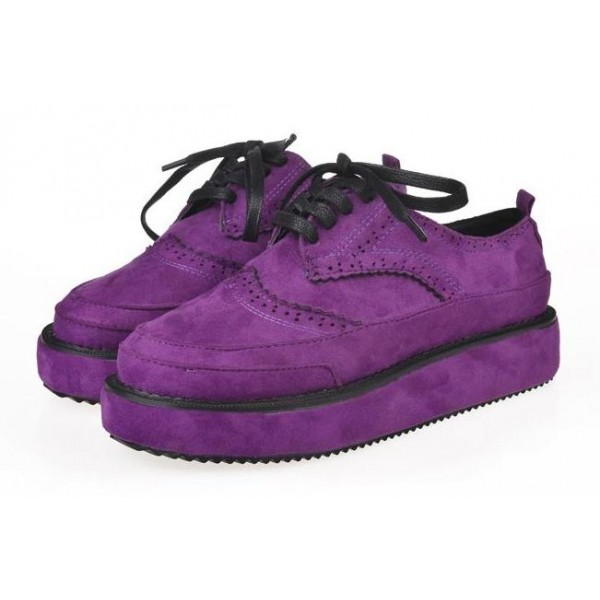 Purple Suede Vintage Lace Up Platforms Creepers Oxfords Shoes