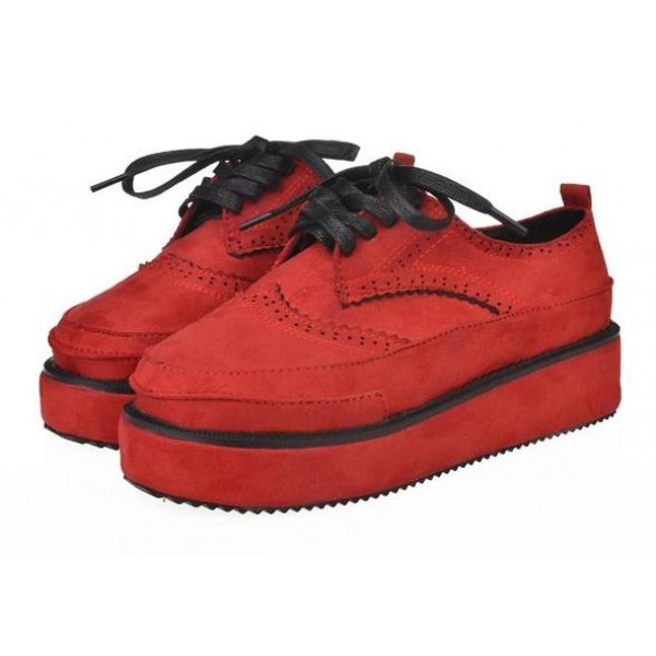 Red Suede Vintage Lace Up Platforms Creepers Oxfords Shoes