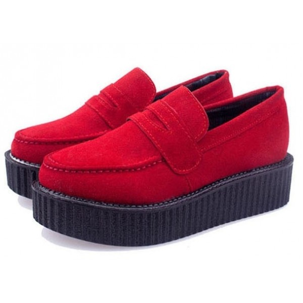 Red Suede Vintage Platforms Creepers Oxfords Shoes