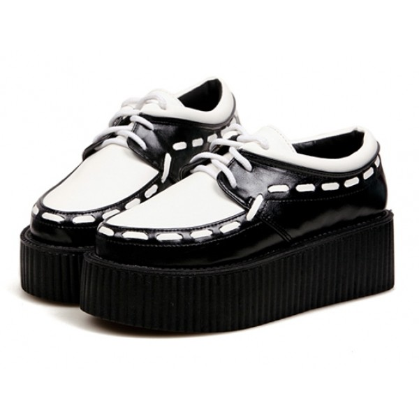 White Black Stitches Lace Up Platforms Creepers Oxfords Shoes