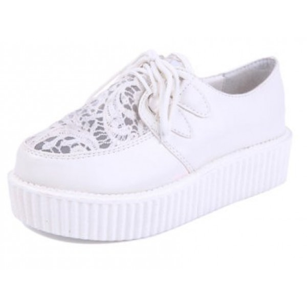 White Lace Crochet Emboridery Harajuku Lace Up Platforms Creepers Oxfords Shoes