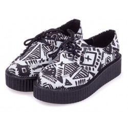 White Tribal Totem Pattern Lace Up Platforms Creepers Oxfords Shoes