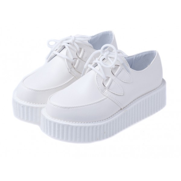 White Vintage Old School Lace Up Platforms Creepers Oxfords Shoes