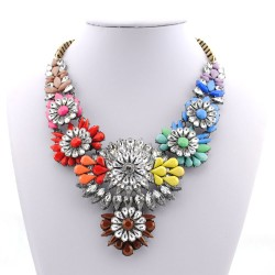 Rainbow Crystals Vintage Glamorous Bohemian Ethnic Necklace