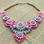 Pink Crystals Vintage Glamorous Bohemian Ethnic Necklace