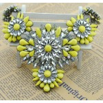 Yellow Crystals Vintage Glamorous Bohemian Ethnic Necklace