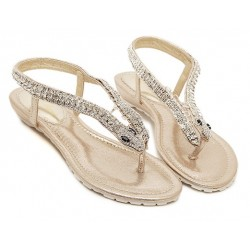 Gold Diamonte Snake Elegant Evening Flats Flip Flop Sandals