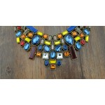 Gold Silver Colorful Rainbow Gemstones Tribal Bohemian Ethnic Necklace