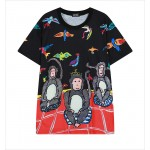 Black Red Dancing Monkey Funky Short Sleeves T Shirt Top