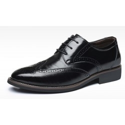 Black Vintage Wingtip Lace Up Mens Oxfords Loafers Dapperman Dress Business Shoes Flats