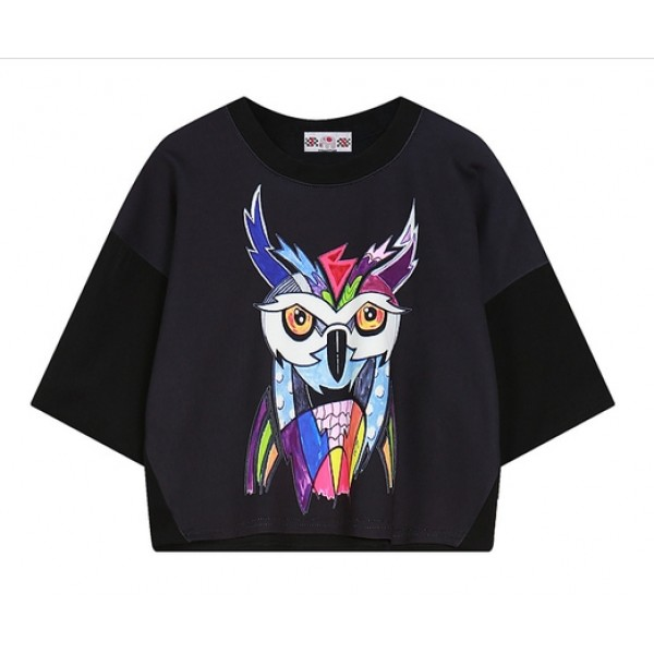 Black White Colorful Owl Cropped Short Sleeves Tops T Shirt
