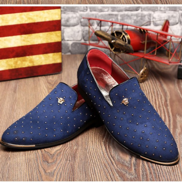 Blue Suede Studs Rivets Mens Oxfords Loafers Business Dress Shoes Flats