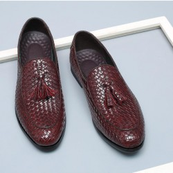 Burgundy Knitted Leather Tassels Mens Oxfords Loafers Dress Business Shoes Flats
