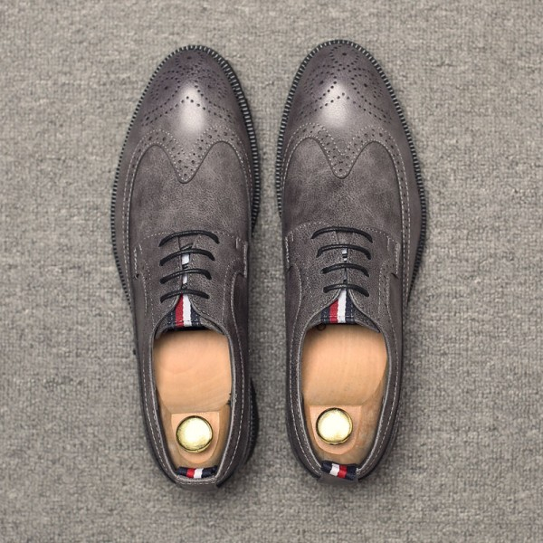 Grey Vintage Wingtip Lace Up Mens Oxfords Loafers Dapperman Dress Business Shoes Flats