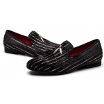 Black Stripes Gold Horn Loafers Dapperman Prom Dress Shoes