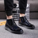 Blue Patent Thick Sole Lace Up Mens Ankle Sneakers Boots Shoes