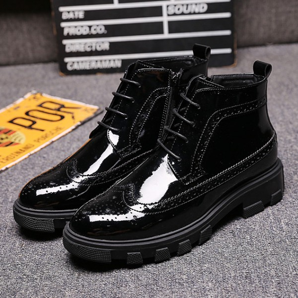 Black Patent Cleated Sole High Top Mens Ankle Chelsea Boots Shoes