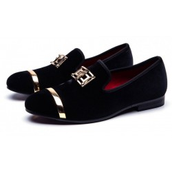 Black Velvet Gold Emblem Loafers Dapperman Prom Dress Shoes