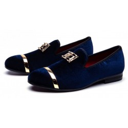 Blue Navy Velvet Gold Emblem Loafers Dapperman Prom Dress Shoes