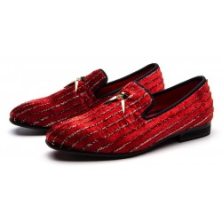 Red Stripes Gold Horn Loafers Dapperman Prom Dress Shoes