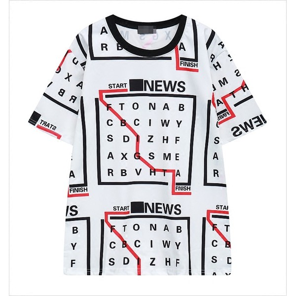 White Cross Words Puzzle Funky Short Sleeves T Shirt Top