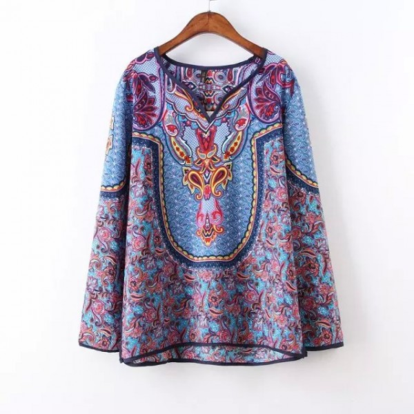 Blue Vintage Paisley Totem Retro Pattern Chiffon Long Sleeves Blouse Shirt Tunic