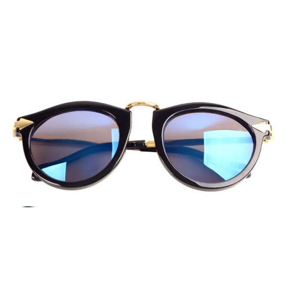 Black Pilot Rider Aviator Polarized Mirror Blue Lens Sunglasses