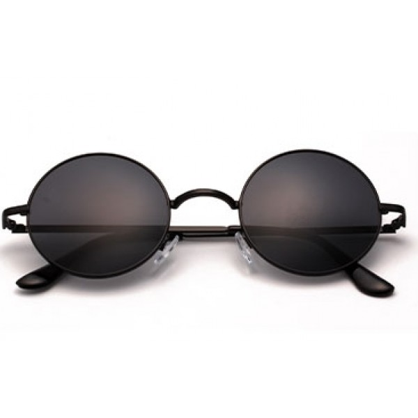 Black Round Circle Polarized Lens Vintage Sunglasses