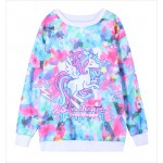 Blue Rainbow Colorful Unicorn Harajuku Funky Long Sleeve Fleece Sweatshirts Tops