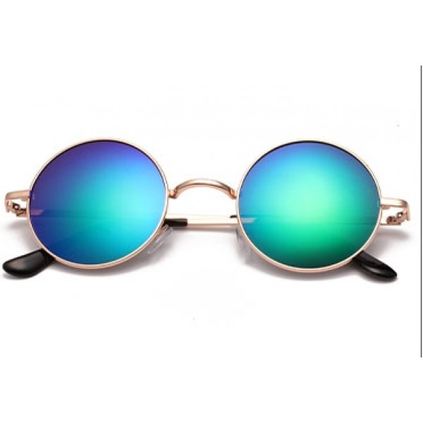 Blue Round Circle Mirror Polarized Lens Gold Frame Vintage Sunglasses