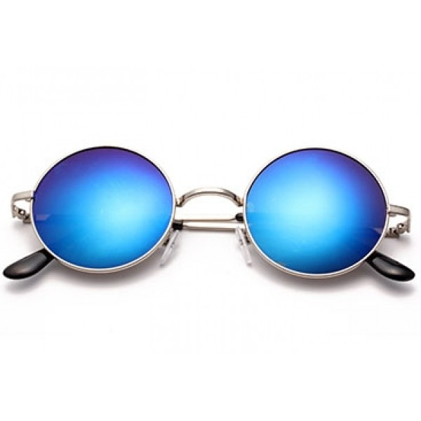 Blue Round Circle Mirror Polarized Lens Silver Frame Vintage Sunglasses