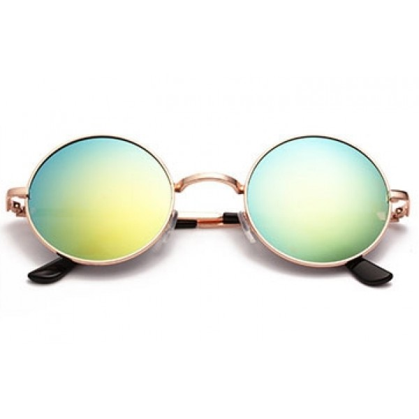 Gold Round Circle Mirror Polarized Gold Lens Black Metal Frame Vintage Sunglasses