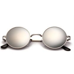 Silver Round Circle Mirror Polarized Lens Vintage Sunglasses