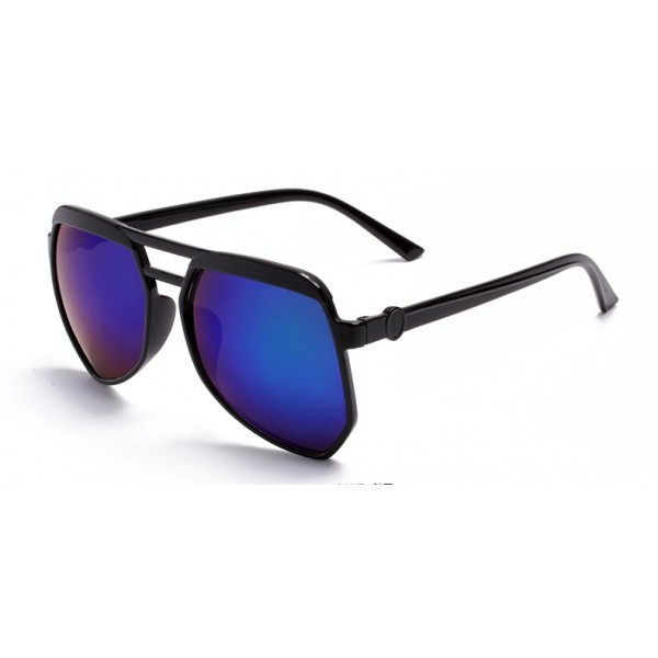 Black Oversized Pilot Rider Aviator Blue Mirror Polarized Lens Sunglasses