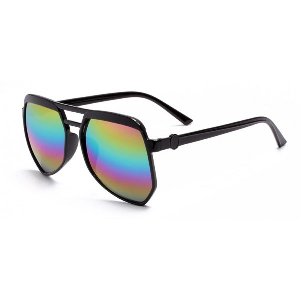 Black Oversized Pilot Rider Aviator Rainbow Mirror Polarized Lens Sunglasses