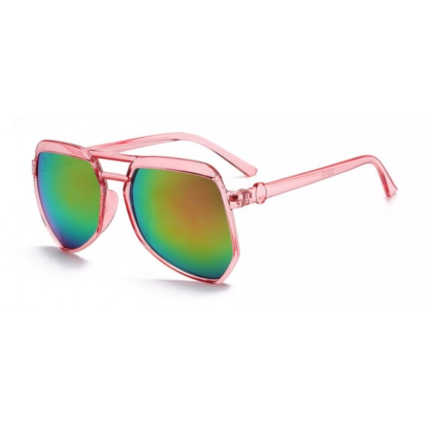 Pink Oversized Pilot Rider Aviator Mirror Polarized Lens Sunglasses
