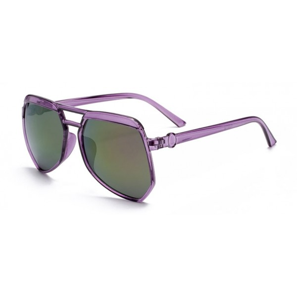 Purple Oversized Pilot Rider Aviator Mirror Polarized Lens Sunglasses