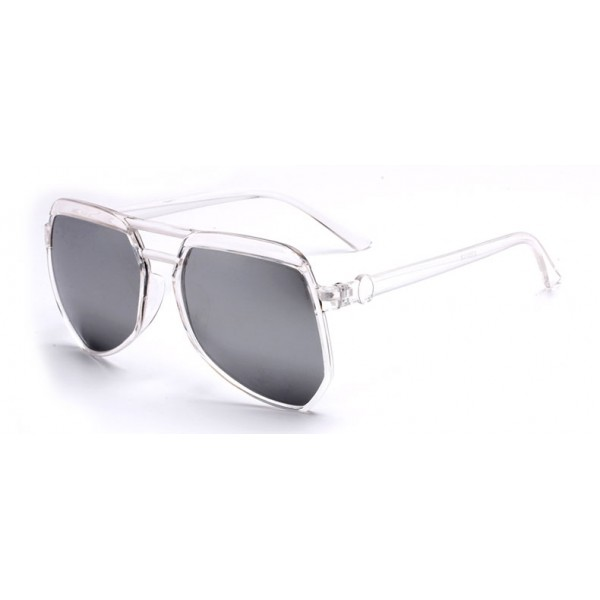Transparent Oversized Pilot Rider Silver Mirror Polarized Lens Sunglasses